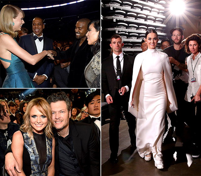 From Kanye West's cute touch-up to Taylor Swift's ladies' night, here are the best photos (from backstage and in the audience at L.A.'s Staples Center on Sunday, Feb. 8) that didn't make the 2015 Grammys live telecast!